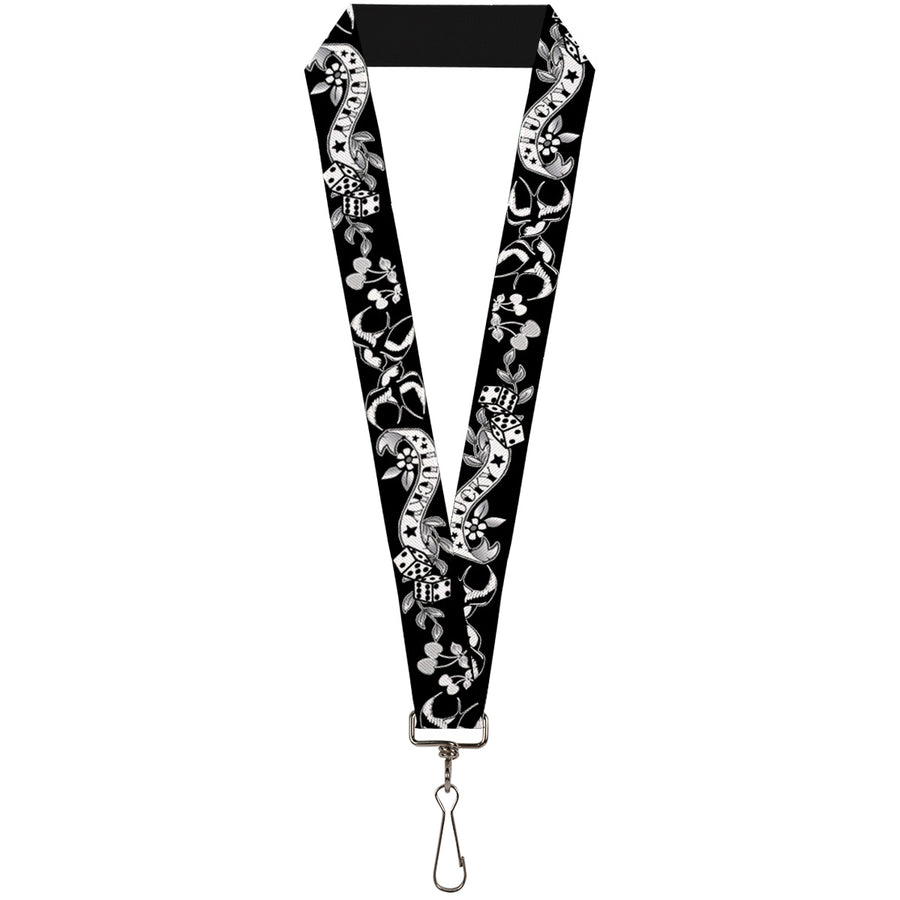 "Lanyard - 1.0"" - Lucky Black White"