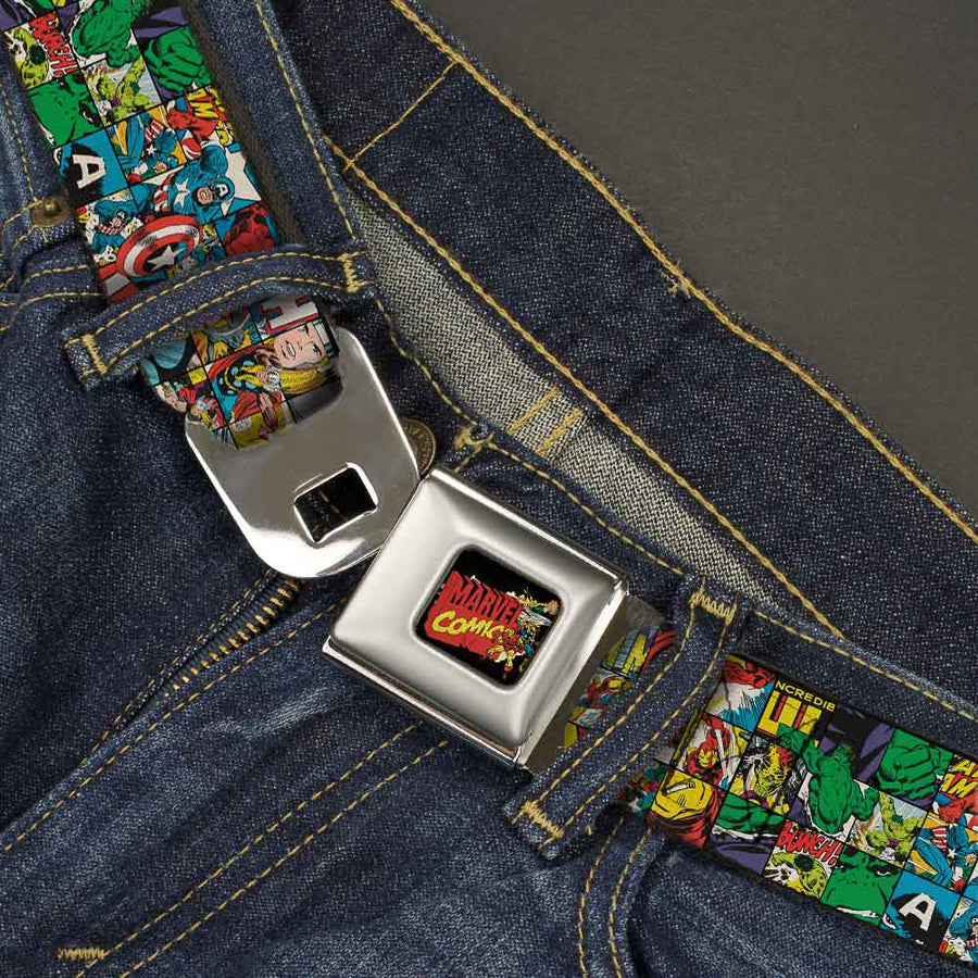 MARVEL COMICS MARVEL COMICS Characters Distressed Full Color Black Seatbelt Belt - Marvel Comics Assorted Comic Book Scene Blocks Webbing