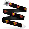 Superman Black Silver Seatbelt Belt - Superman Shield Black Webbing
