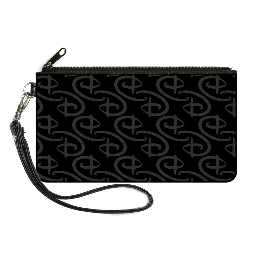 Canvas Zipper Wallet - LARGE - Disney Signature D Logo Monogram Black Gray