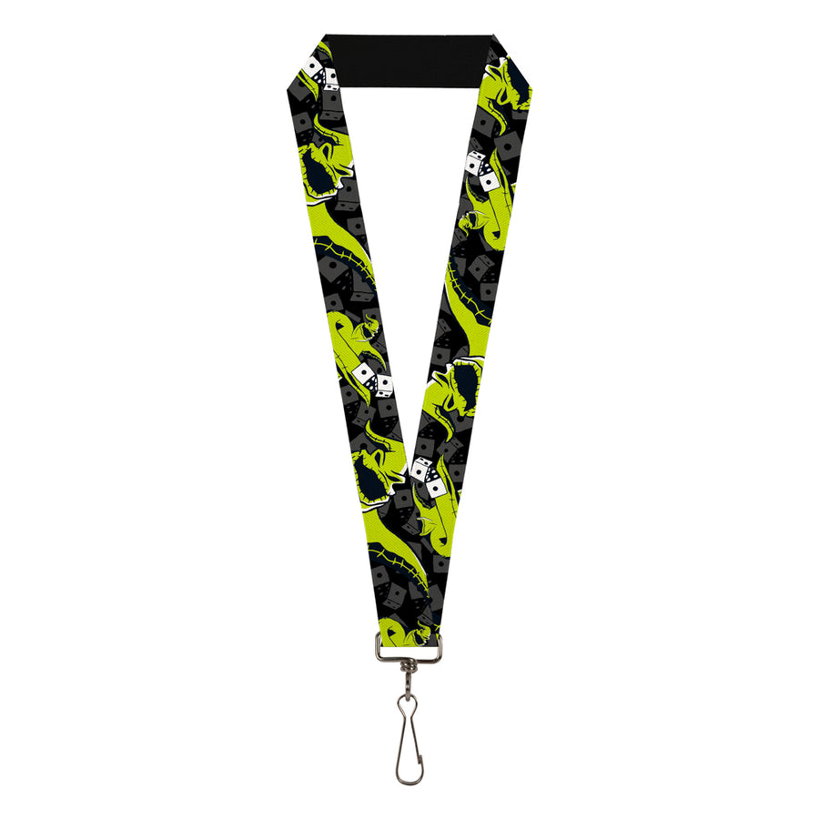 "Lanyard - 1.0"" - Oogie Boogie Rolling Dice Pose Dice Scattered Black Grays Lime Green"
