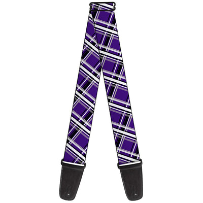 Guitar Strap - Houndstooth Gray Purple White
