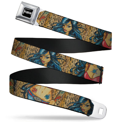 SEXY INK GIRLS Full Color Black White Seatbelt Belt - Leah Webbing