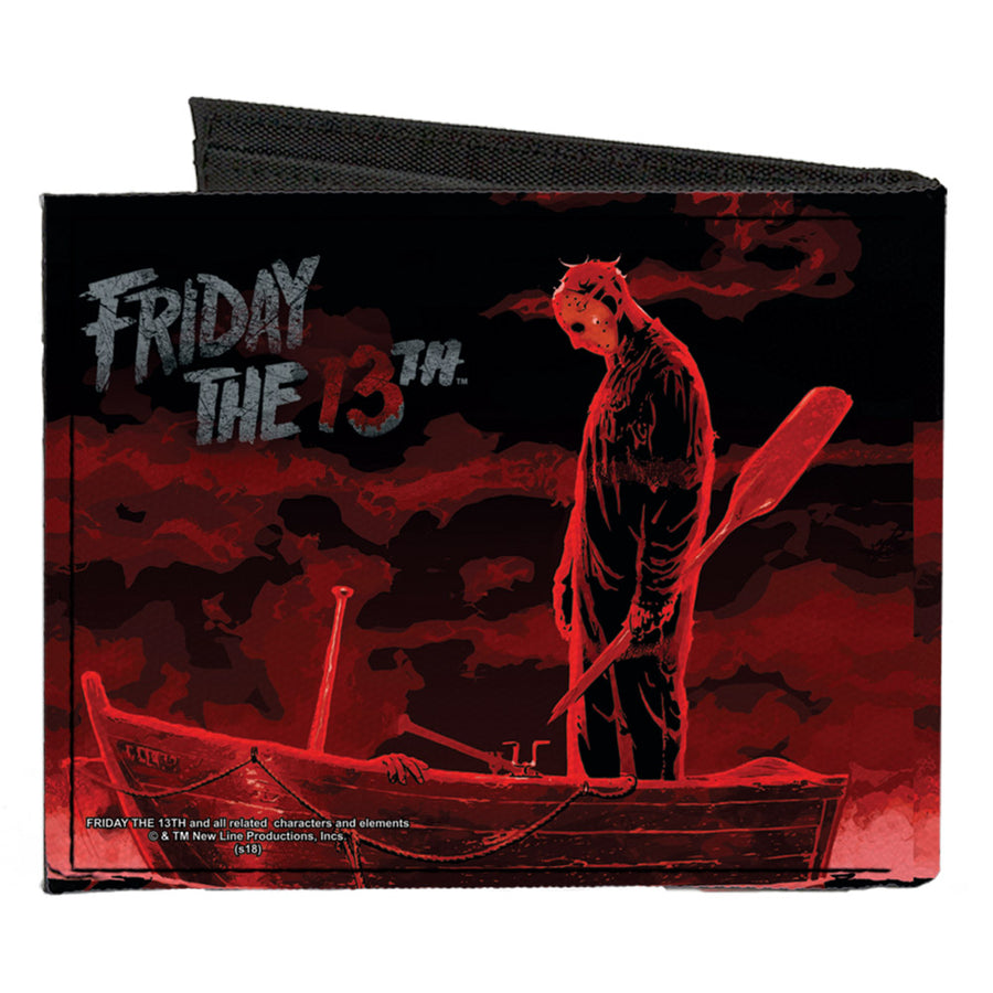 Canvas Bi-Fold Wallet - FRIDAY THE 13th Jason Boat Murder Black Reds White