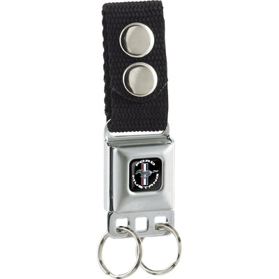 Keychain - FORD MUSTANG Tri-Bar Logo Black White Silver Red Blue
