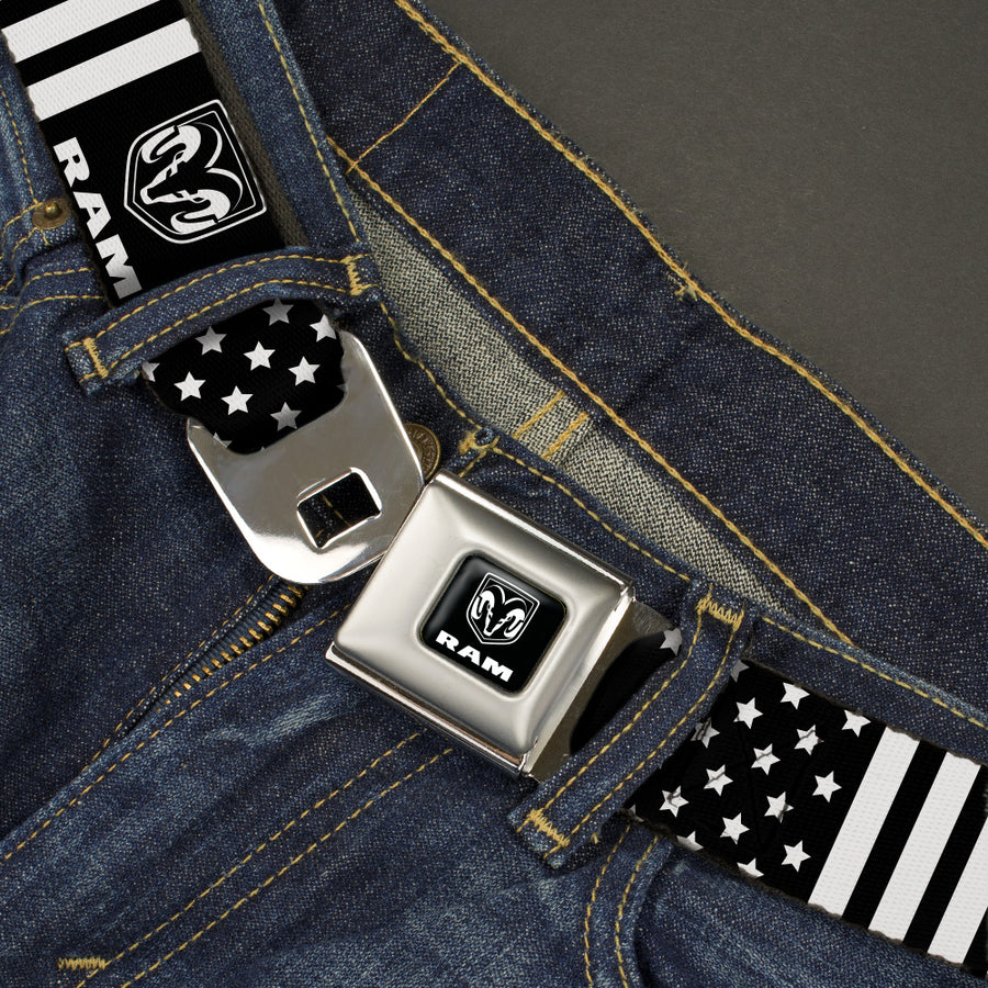 RAM Logo Full Color Black/White Seatbelt Belt - RAM Logo Americana Stars and Stripes Black/White Webbing