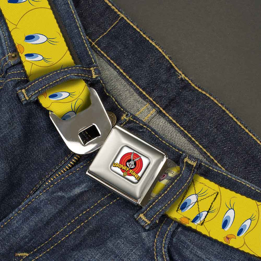 Looney Tunes Logo Full Color White Seatbelt Belt - Tweety Bird Expressions Yellow Webbing