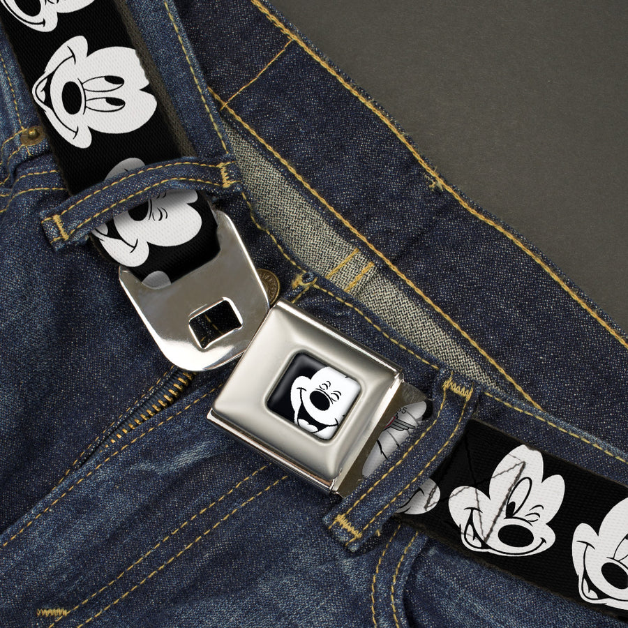 Mickey Mouse Face2 CLOSE-UP Full Color Black White Seatbelt Belt - Mickey Mouse Expressions CLOSE-UP Black/White Webbing