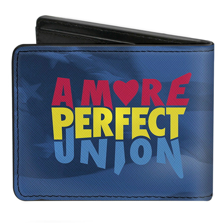 Bi-Fold Wallet - A MORE PERFECT UNION US FLAG Blues Red Yellow Blue