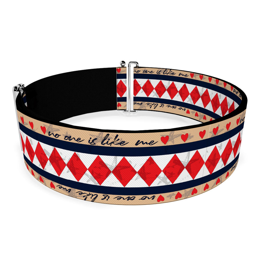 Cinch Waist Belt - Birds of Prey Harley Quinn NO ONE IS LIKE ME Diamonds and Hearts Tans Black White Red