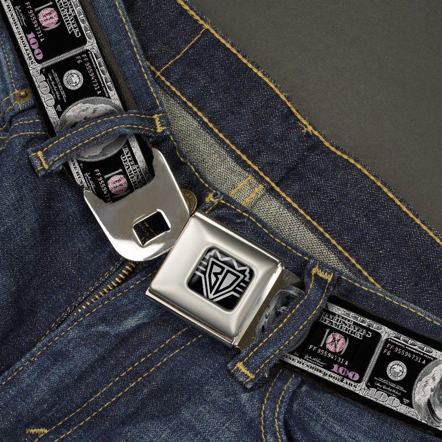 BD Wings Logo CLOSE-UP Full Color Black Silver Seatbelt Belt - 100 Dollar Bill X-Ray Black/White Webbing