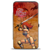 Hinged Wallet - RED SONJA Sword Action Pose Face Tans Reds