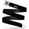 Ford Emblem Seatbelt Belt - FORD Script Single Black/White Webbing