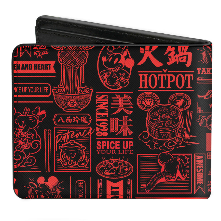 Bi-Fold Wallet - Mickey Mouse Tasting China Collage Black Red