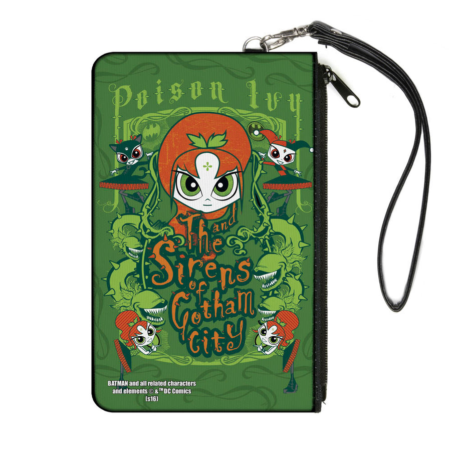 Canvas Zipper Wallet - LARGE - Chibi POISON IVY AND THE SIRENS OF GOTHAM CITY Ivy Greens