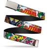 Chrome Buckle Web Belt - THE NEW TEEN TITANS Issue #1 Superhero Cover Poses White Webbing