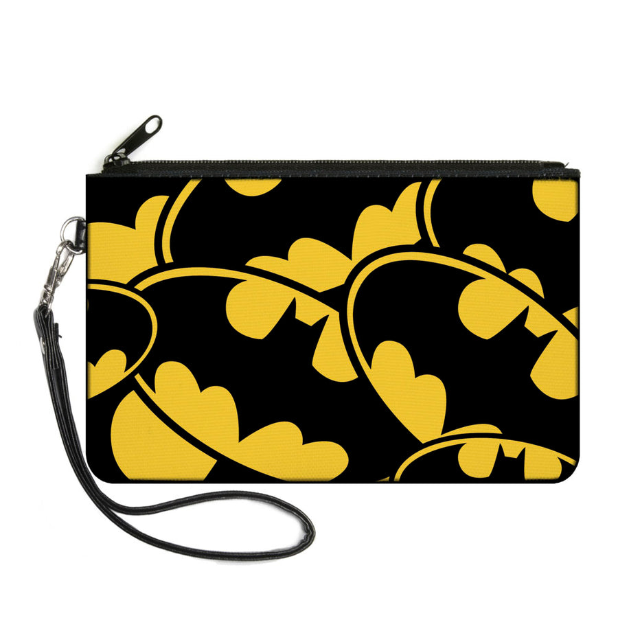 Canvas Zipper Wallet - LARGE - Bat Signals CLOSE-UP Stacked Yellow Black