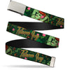 Chrome Buckle Web Belt - POISON IVY Bombshell Poses Greens/Reds Webbing