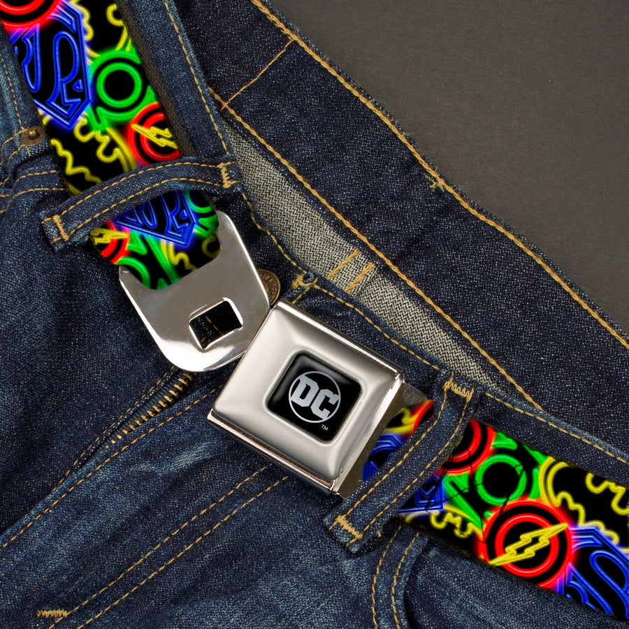 DC Round Logo Black/Silver Seatbelt Belt - Justice League Electric Logos Stacked Black/Multi Neon Webbing