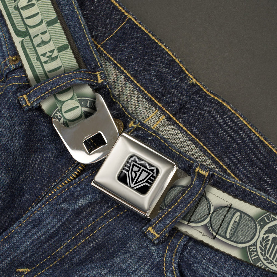 BD Wings Logo CLOSE-UP Full Color Black Silver Seatbelt Belt - 100 Dollar Bill CLOSE-UP/Triple Benjamin Webbing