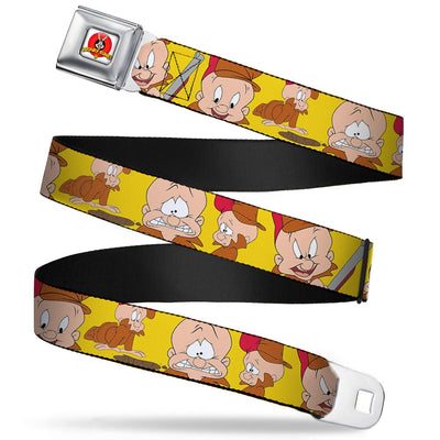 Looney Tunes Logo Full Color White Seatbelt Belt - Elmer Fudd Expressions Yellow Webbing