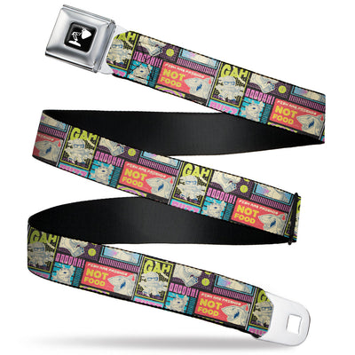 Pixar Luxo Lamp Silhouette Full Color Black/White Seatbelt Belt - Disney Pixar Movie Mash Up Character Scene Blocks Black/Multi Color Webbing