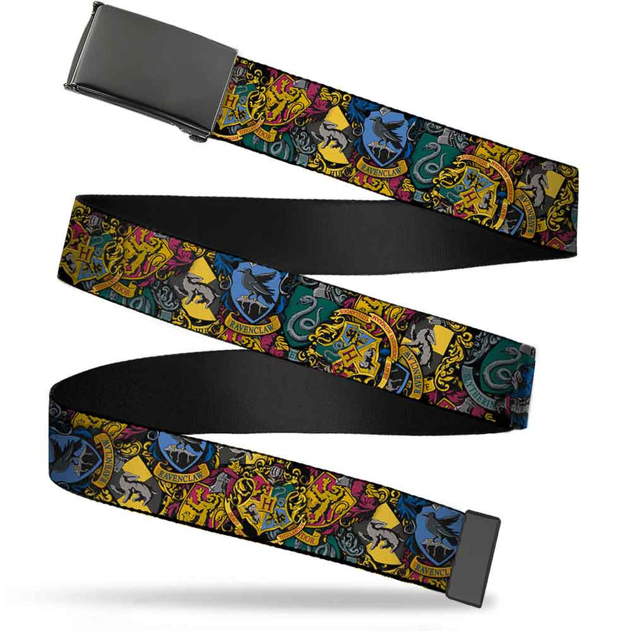 Black Buckle Web Belt - Harry Potter Hogwarts & 4-House Crests Stacked Webbing