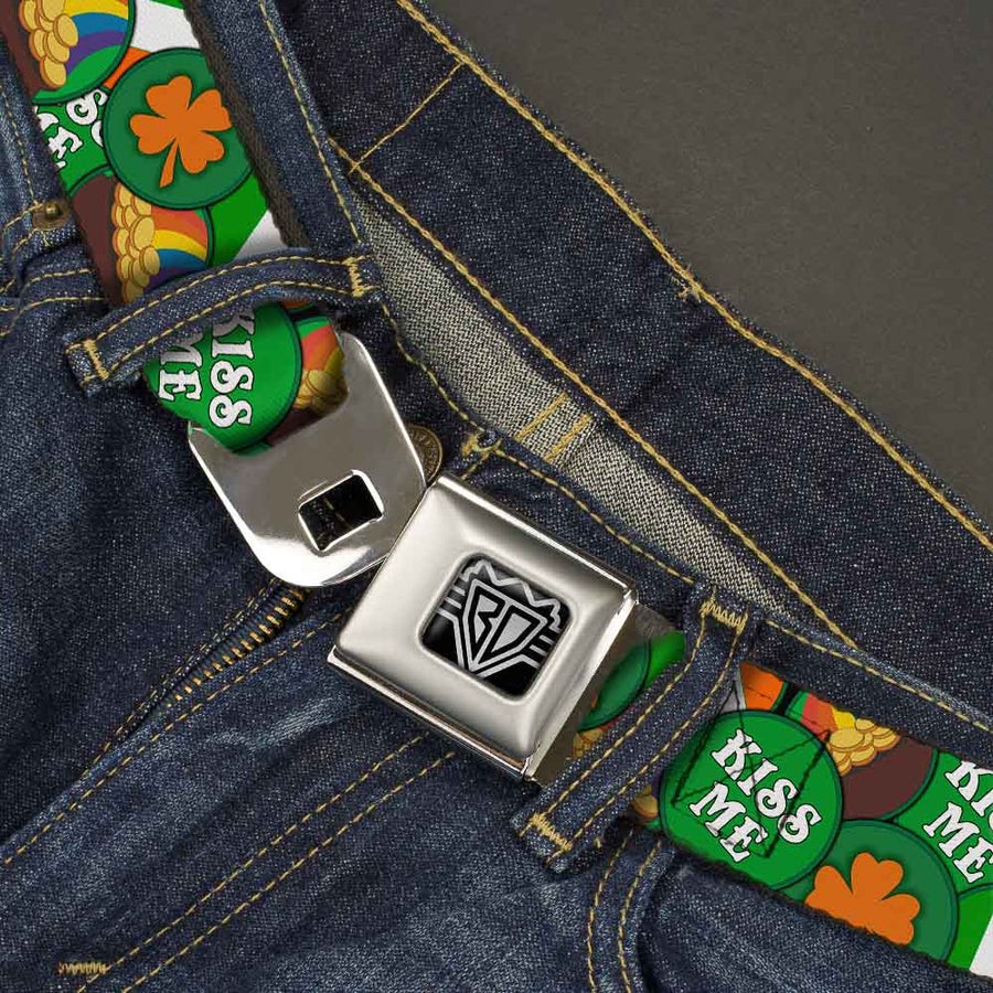 BD Wings Logo CLOSE-UP Full Color Black Silver Seatbelt Belt - St. Pat's 4-Buttons Stacked Webbing