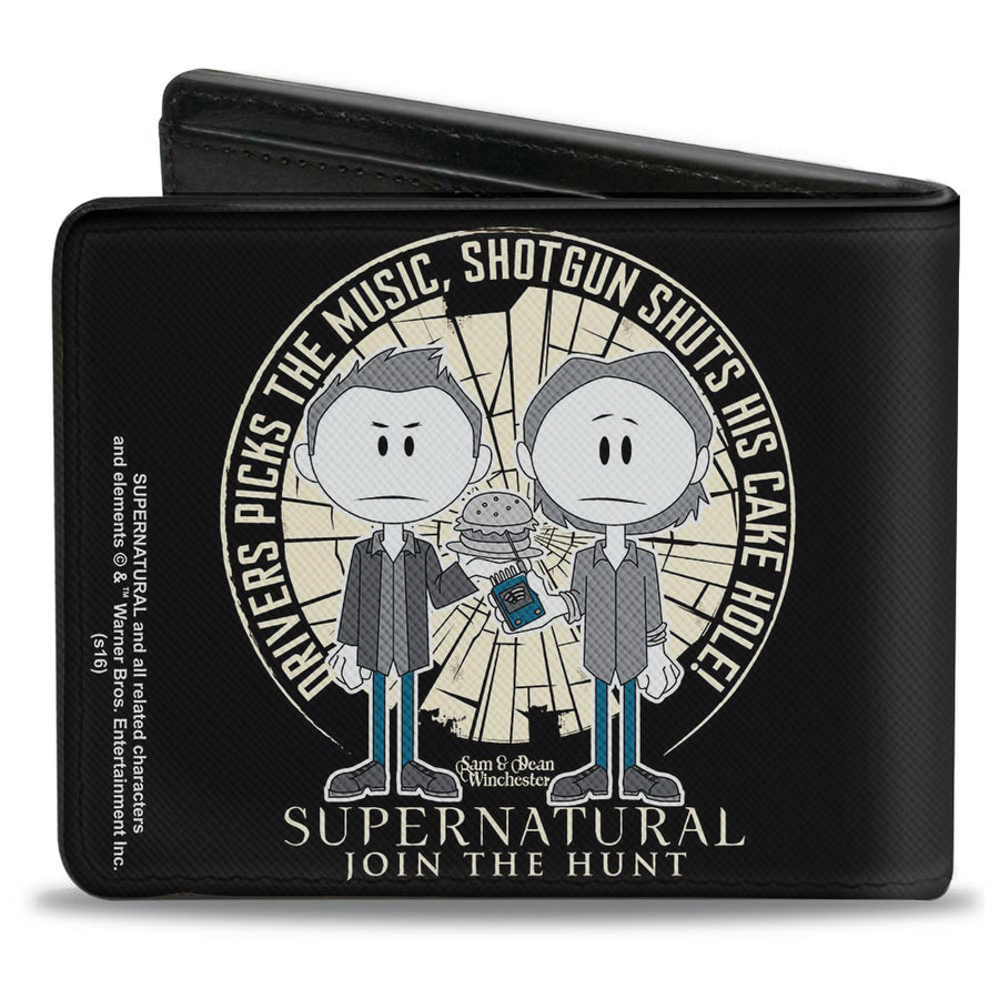 Bi-Fold Wallet - Supernatural Sam & Dean Caricatures DRIVER PICKS THE MUSIC Shattered Glass Black White Grays Blues