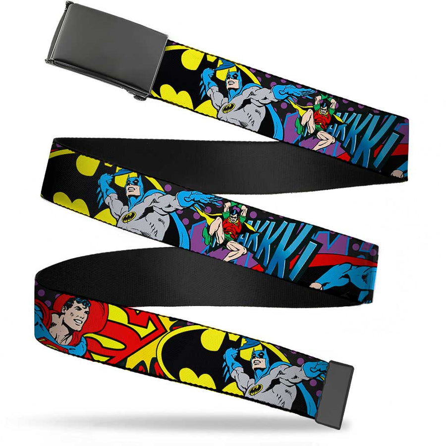 Black Buckle Web Belt - Batman/Robin/Superman Pose/Logo Dot Black/Purple Webbing