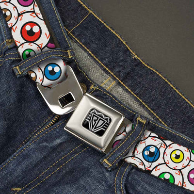 BD Wings Logo CLOSE-UP Full Color Black Silver Seatbelt Belt - Eyeballs Stacked Webbing