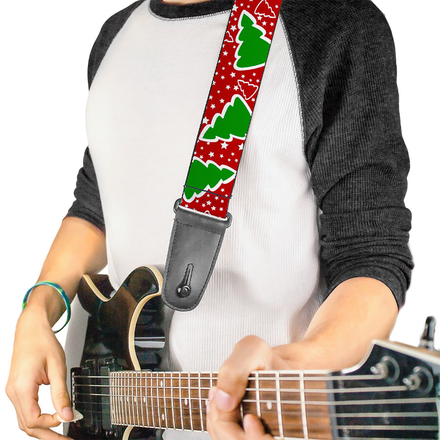 Guitar Strap - Christmas Trees Stars Red White Green