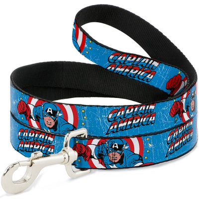 Dog Leash - CAPTAIN AMERICA w/Action Pose Weathered Blue