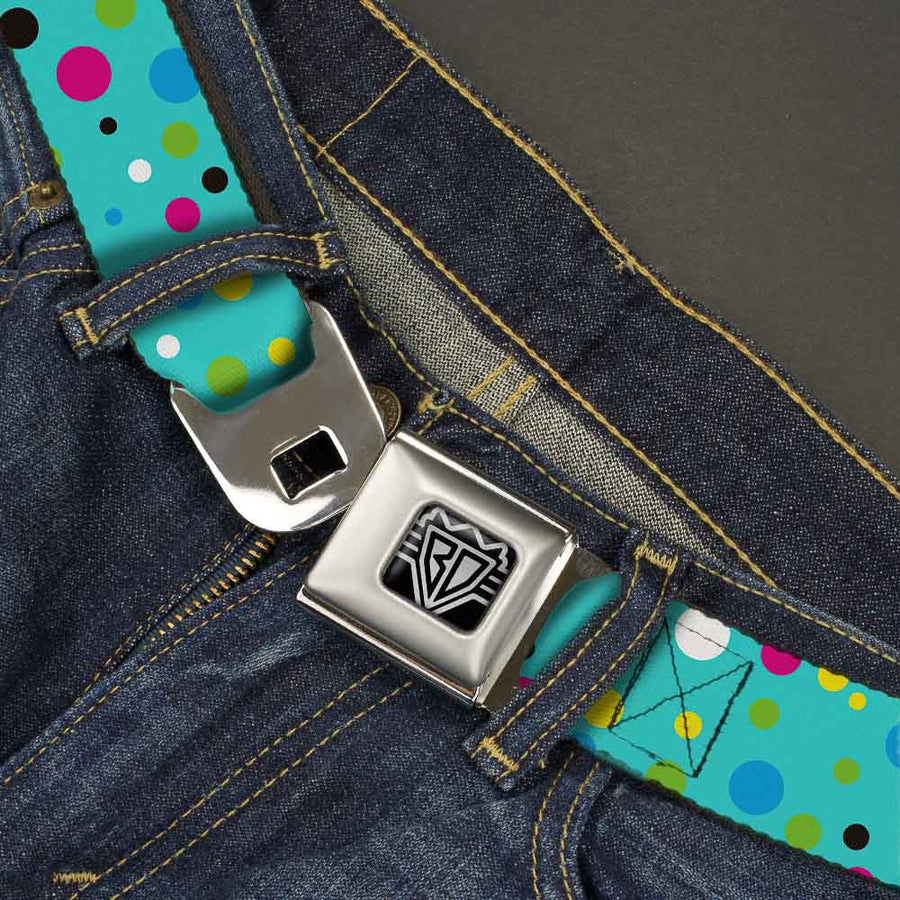 BD Wings Logo CLOSE-UP Full Color Black Silver Seatbelt Belt - Dots Seafoam Green/Multi Pastel Webbing
