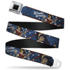 Wonder Woman Black Silver Seatbelt Belt - WONDER WOMAN/Bombshell Pose Blue/Red/White Webbing