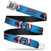 MARVEL COMICS Captain America Shield Full Color Navy Seatbelt Belt - CAPTAIN AMERICA w/Action Pose Weathered Blue Webbing