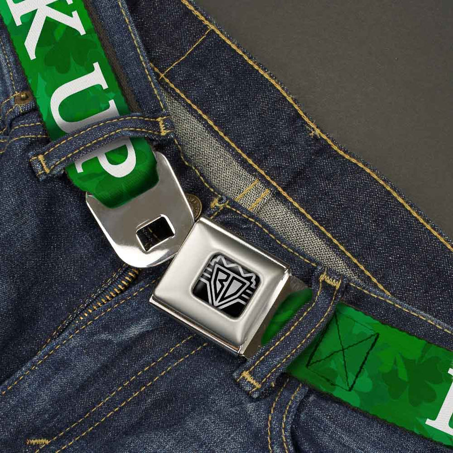 BD Wings Logo CLOSE-UP Full Color Black Silver Seatbelt Belt - St. Pat's DRINK UP BITCHES/Stacked Shamrocks Greens/White Webbing