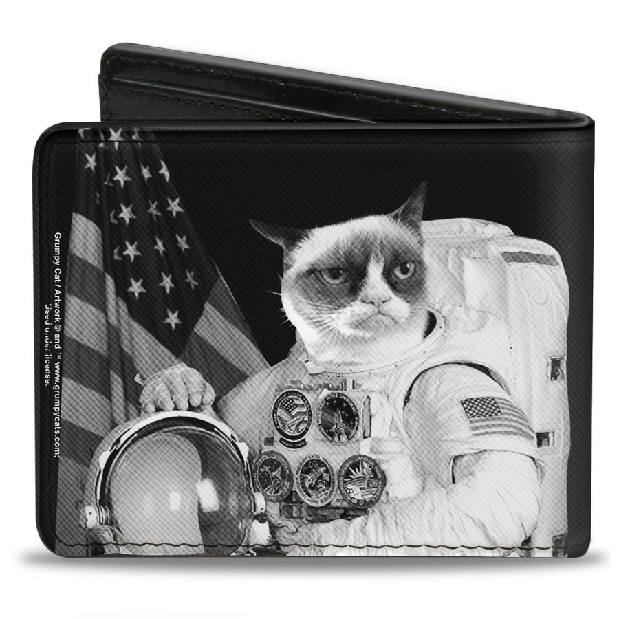 Bi-Fold Wallet - Astronaut Grumpy Cat Black White