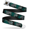 ALICE THROUGH THE LOOKING GLASS Logo Full Color Black Gold Seatbelt Belt - Cheshire Cat 4-Poses Checkers Teal/Black Webbing