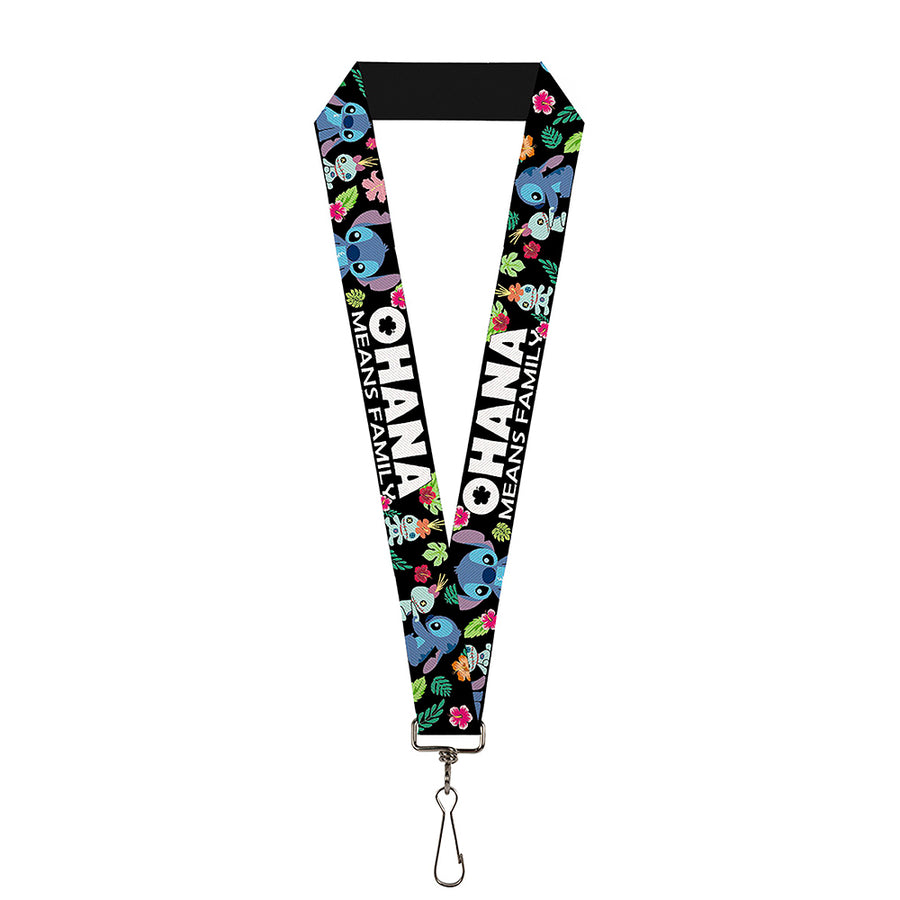 "Lanyard - 1.0"" - OHANA MEANS FAMILY Stitch & Scrump Poses Tropical Flora Black White Multi Color"