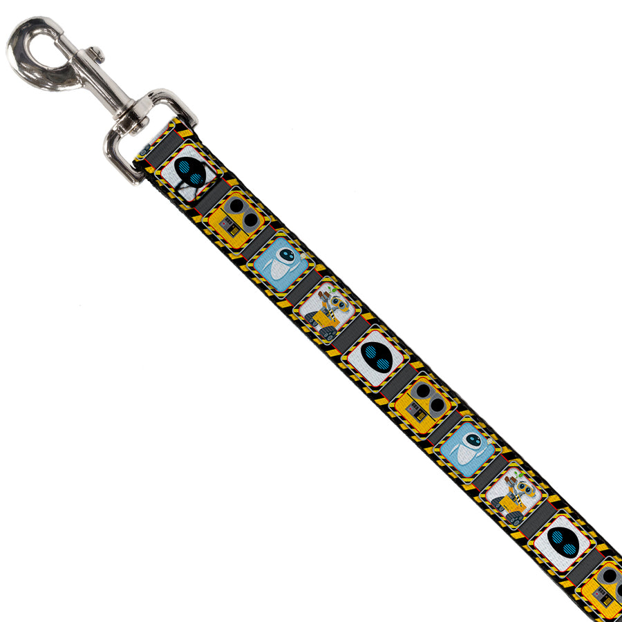 Dog Leash - WALL-E & EVE Pose/Face Hazard Blocks Gray/Yellow/Black