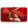 Hinged Wallet - RED SONJA Sword Action Pose CLOSE-UP Red
