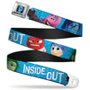 INSIDE OUT Riley Silhouette Full Color Black Sparkle Blue Seatbelt Belt - INSIDE OUT 6-Character Pose Sparkle Blue/White Webbing