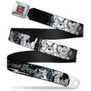 Tom and Jerry Logo Full Color Black Red Seatbelt Belt - TOM & JERRY Face & Pose Sketch Black/White/Red/Blue Webbing