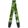 Guitar Strap - MARVIN THE MARTIAN w Poses White Green