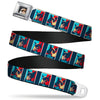 Grumpy Cat Face Full Color Black Seatbelt Belt - Grumpy Cat Mood Blocks Blue/White/Red Webbing