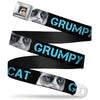 Grumpy Cat Face Full Color Black Seatbelt Belt - GRUMPY CAT w/Face CLOSE-UP Black/Turquoise Webbing