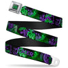 HAHA Stacked Full Color Black Gray Green Seatbelt Belt - THE JOKER Card Flipping Poses Black/Greens/Purples Webbing
