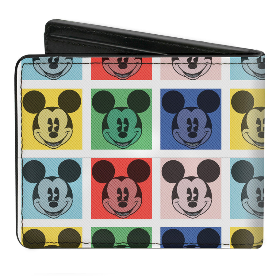 Bi-Fold Wallet - Mickey Mouse Smiling Blocks White Multi Color