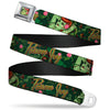 Poison Ivy Pin-Up Face Full Color Seatbelt Belt - POISON IVY Bombshell Poses Greens/Reds Webbing